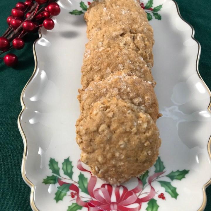Honey spice oatmeal cookies on a holiday platter.