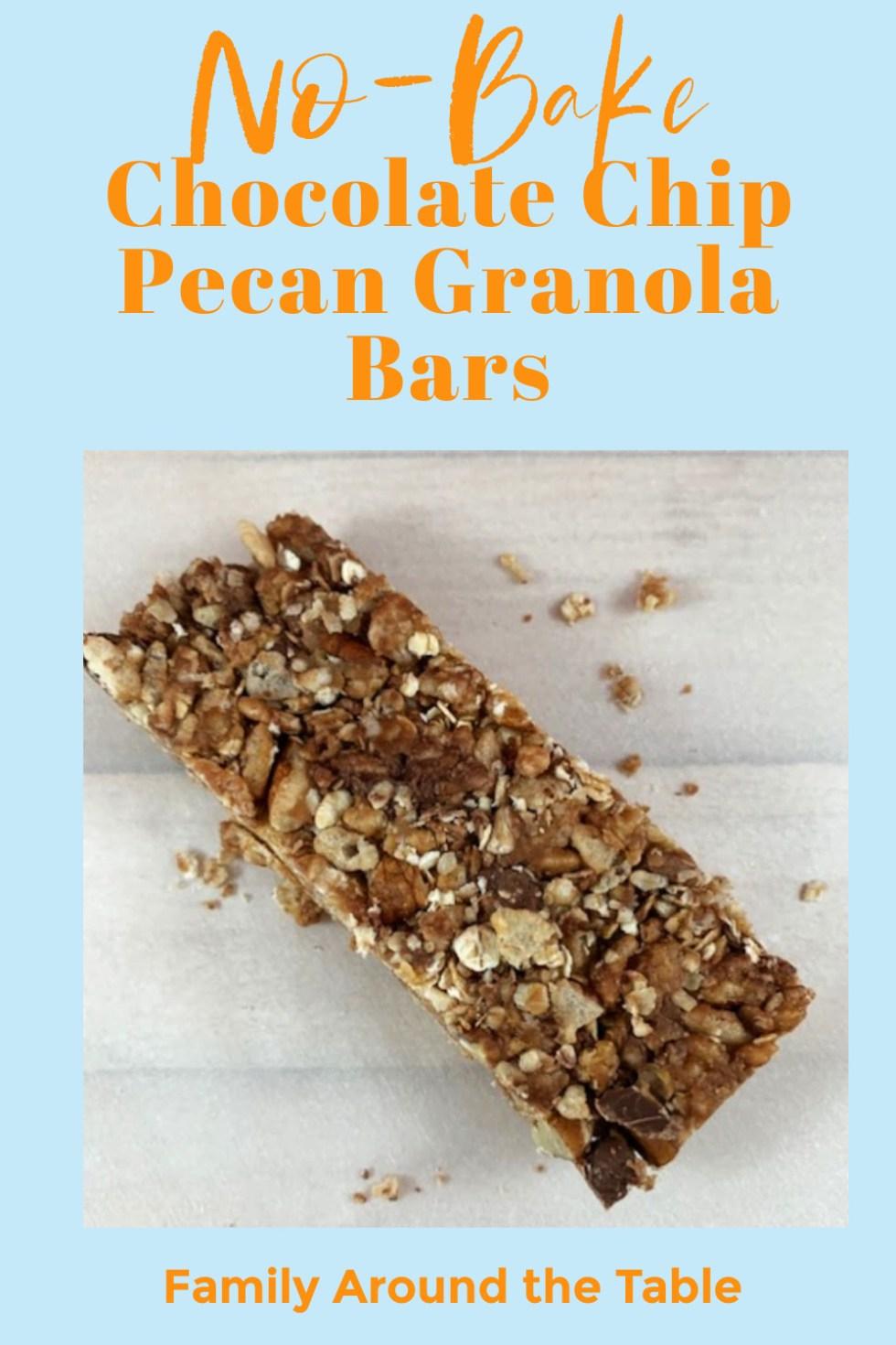 Chocolate Chip Pecan Granola Bars Pinterest Image
