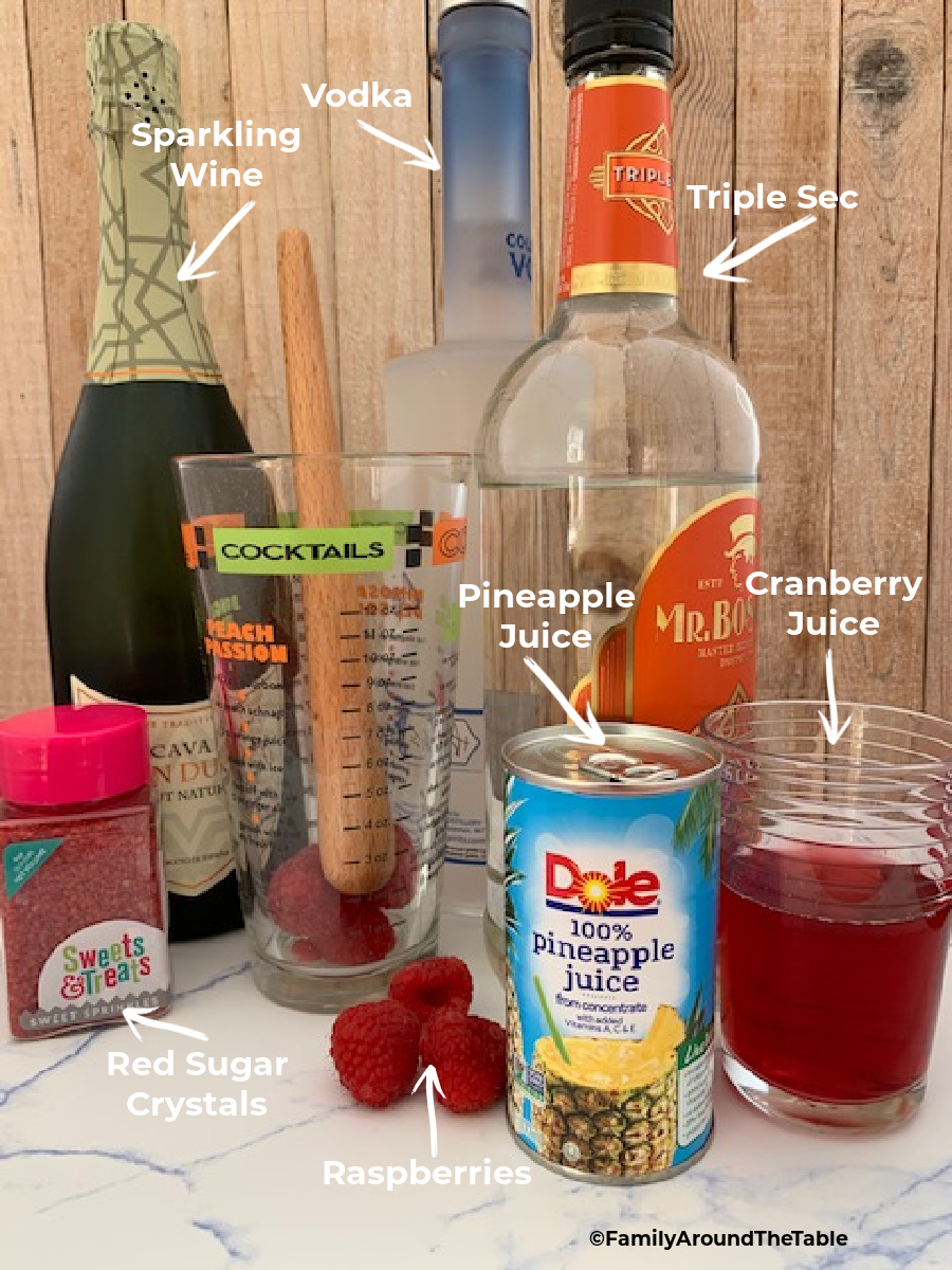 A graphic of ingredients needed for a flirtini cocktail.