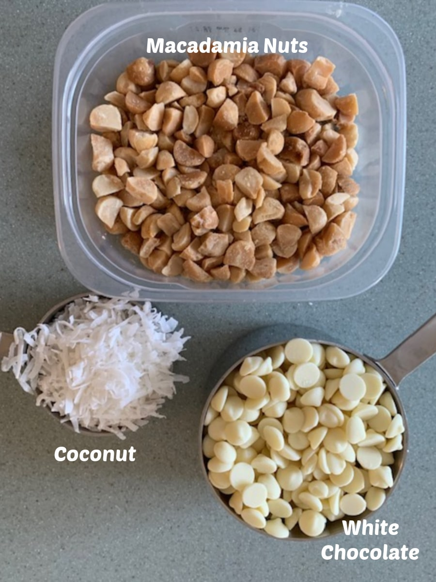 Ingredient image of coconut, macadamia nuts and white chocolate.