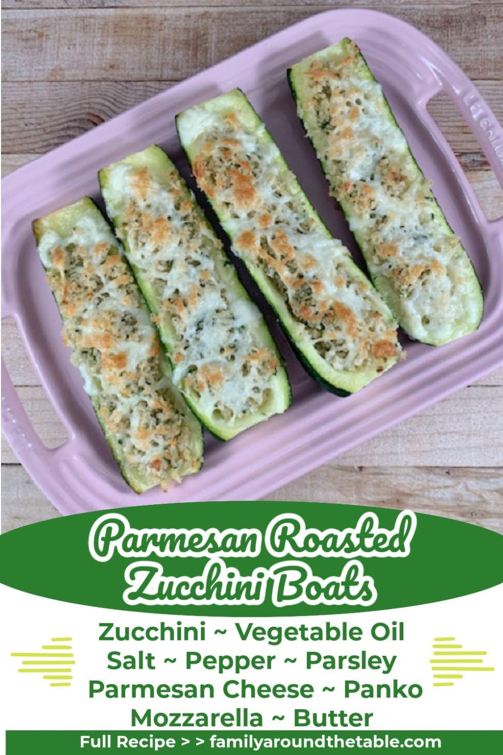 Parmesan Roasted Zucchini Boats Pinterest Image