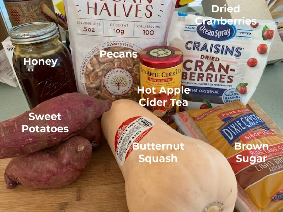 A photo with labeled ingredients for fall vegetable medley