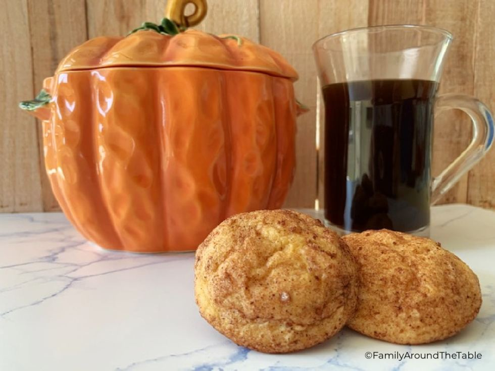Pumpkin Snickerdoodles with a cup of coffee and ceramic pumpkin.