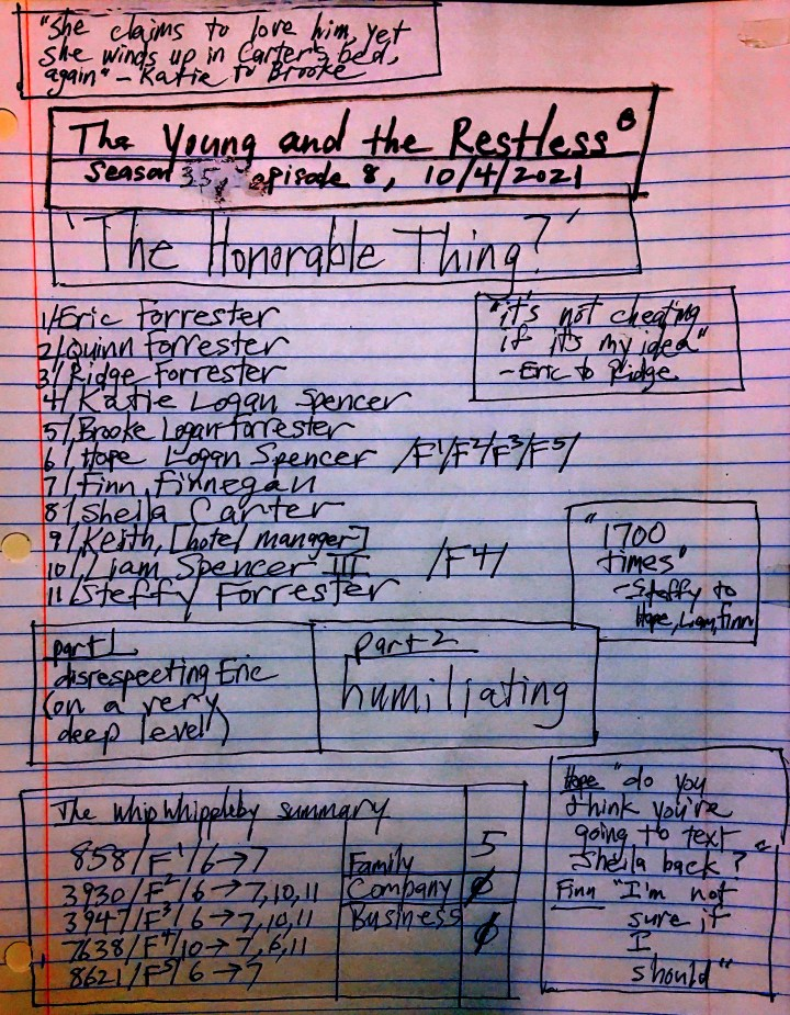 'The Honorable Thing?' - #bb, notes, 10/4/2021