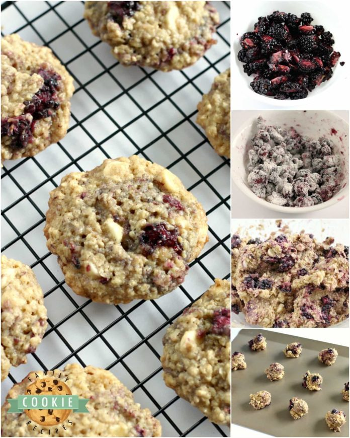 Step-by-step instructions on how to make Blackberry Oatmeal cookies with fresh blackberries.