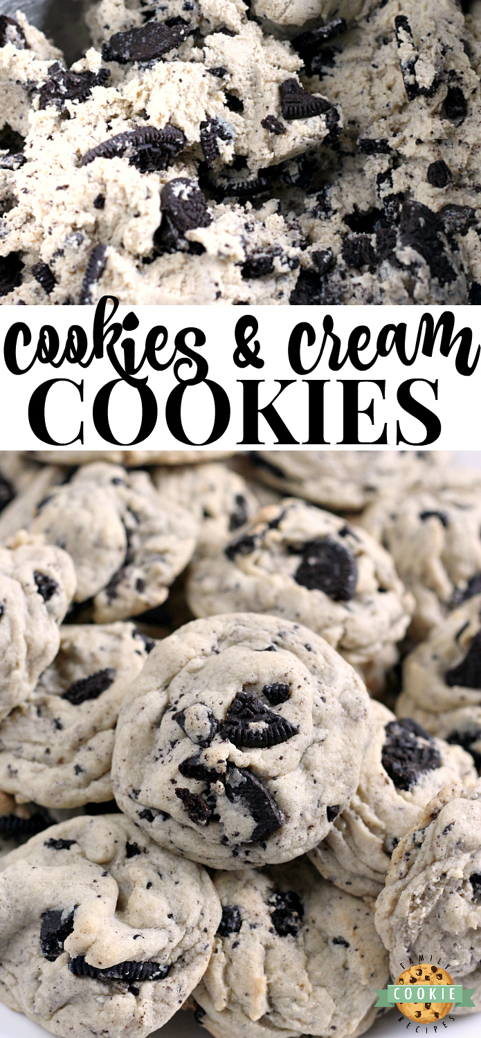 Cookies & Cream Cookies have become a regular treat around my house because they are just so yummy! I discovered this recipe several years ago (thanks to my sister!) and it has been a favorite of mine ever since!  With Oreo pudding mix and crushed Oreo cookies, these cookies are amazing! via @familycookierecipes