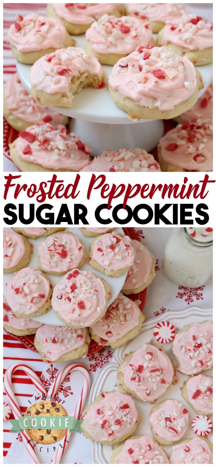 Frosted Peppermint Cookies are soft, pillowy cookies baked with peppermint candy and topped with peppermint vanilla buttercream and candy cane pieces. #peppermint #frosting #cookies #cookie #Christmas #holidays #recipe #cookieexchange #candycanes Recipe from FAMILY COOKIE RECIPES via @familycookierecipes