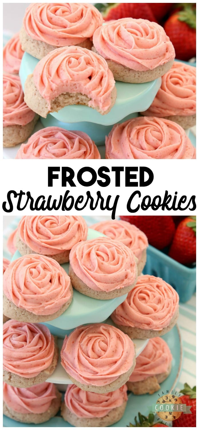 Frosted Strawberry Cookies made by adding fresh strawberries to a simple sugar cookie dough. No rolling out or chilling necessary! Just bake and top with my amazing strawberry buttercream frosting. Easy Strawberry Cookies piped with a super simple pink rose, so they taste incredible and they're pretty too!