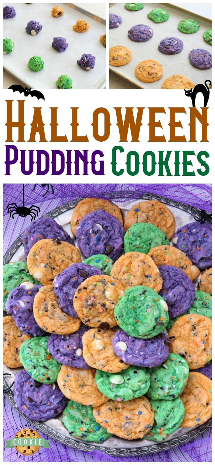 Funfetti Halloween Cookies are tasty & spooky treats made colorful with festive sprinkles baked into each cookie. We added pudding mix for texture and color for FUN! #cookies #funfetti #Halloween #cookie #recipe #dessert #Fall