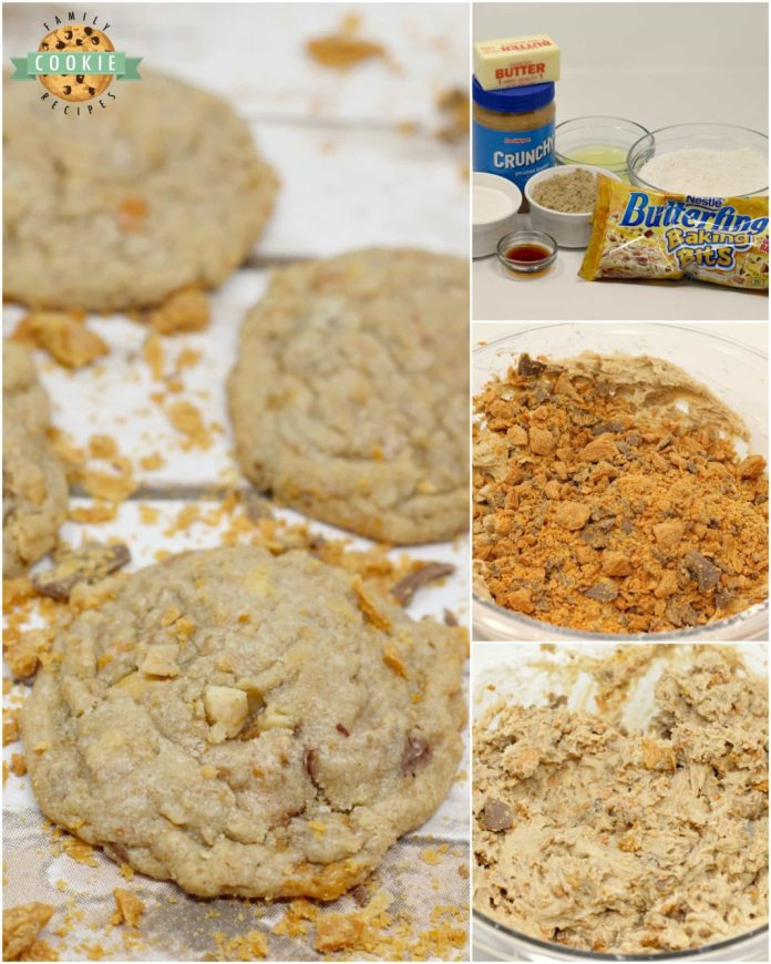 Step-by-step instructions on how to make Butterfinger Peanut Butter Cookies.