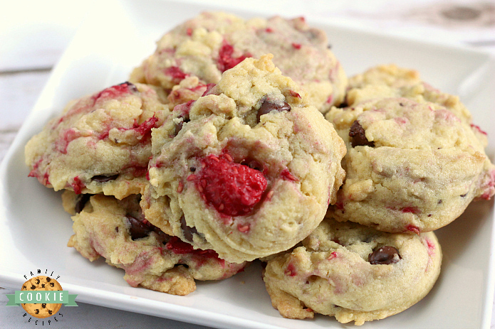 Raspberry Chocolate Chip Cookies are soft, chewy and absolutely amazing!Adding fresh raspberries to a delicious classic cookie recipe makes such a delicious difference!