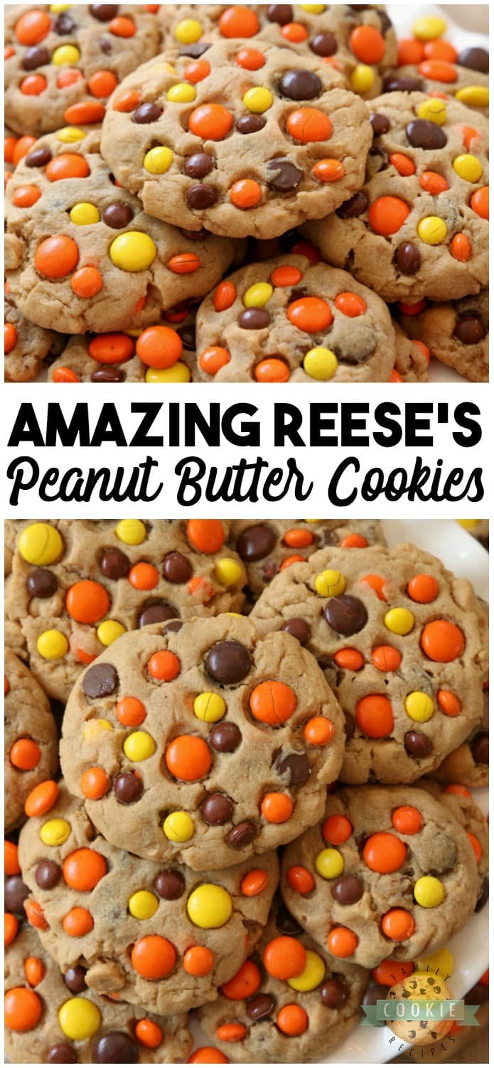 Best Ever Reese's Peanut Butter Cookies recipe made with a full cup of peanut butter! We added chocolate chips plus peanut butter chips & Reese's Pieces to our favorite peanut butter cookie recipe to get the ULTIMATE chocolate peanut butter cookies! Best #PeanutButter #cookie #recipe from FAMILY COOKIE RECIPES! #baking #food #dessert #cookies