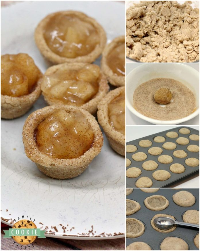 Step-by-step instructions on how to make Snickerdoodle Apple Pie Cookie Cups - a simpler version of a classic apple pie in miniature form!