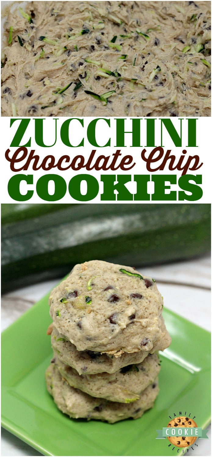 Zucchini Chocolate Chip Cookies are so soft and yummy, plus this is a delicious way to sneak in some veggies and use up all the zucchini from your garden! via @familycookierecipes