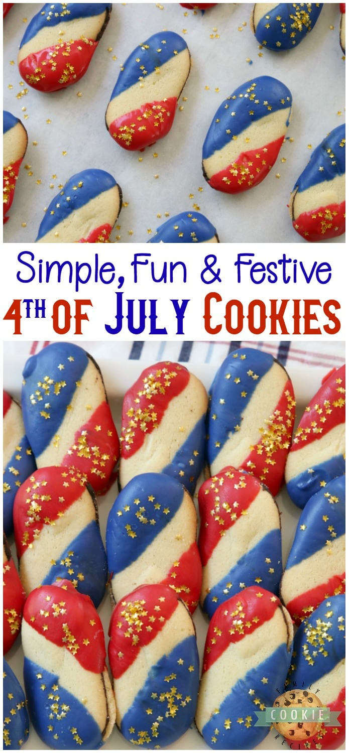Super Simple 4th of July Cookies made with just 4 ingredients and NO BAKE! Easy red, white and blue cookies made with Milano cookies dipped in red and blue melting chocolate then sprinkled with gold stars. Made in just 15 minutes and they're perfectly patriotic! #4thofJuly #patriotic #cookies #redwhiteandblue #cookie #recipe #simple Recipe from FAMILY COOKIE RECIPES
