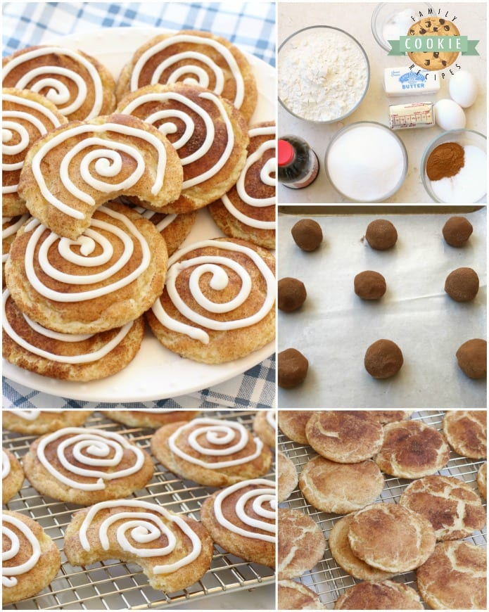 Cinnamon Roll Snickerdoodles are your favorite snickerdoodle cookies with the addition of a sweet vanilla swirl on top! A fun variation on a Snickerdoodle recipe for anyone who loves Cinnamon Rolls!