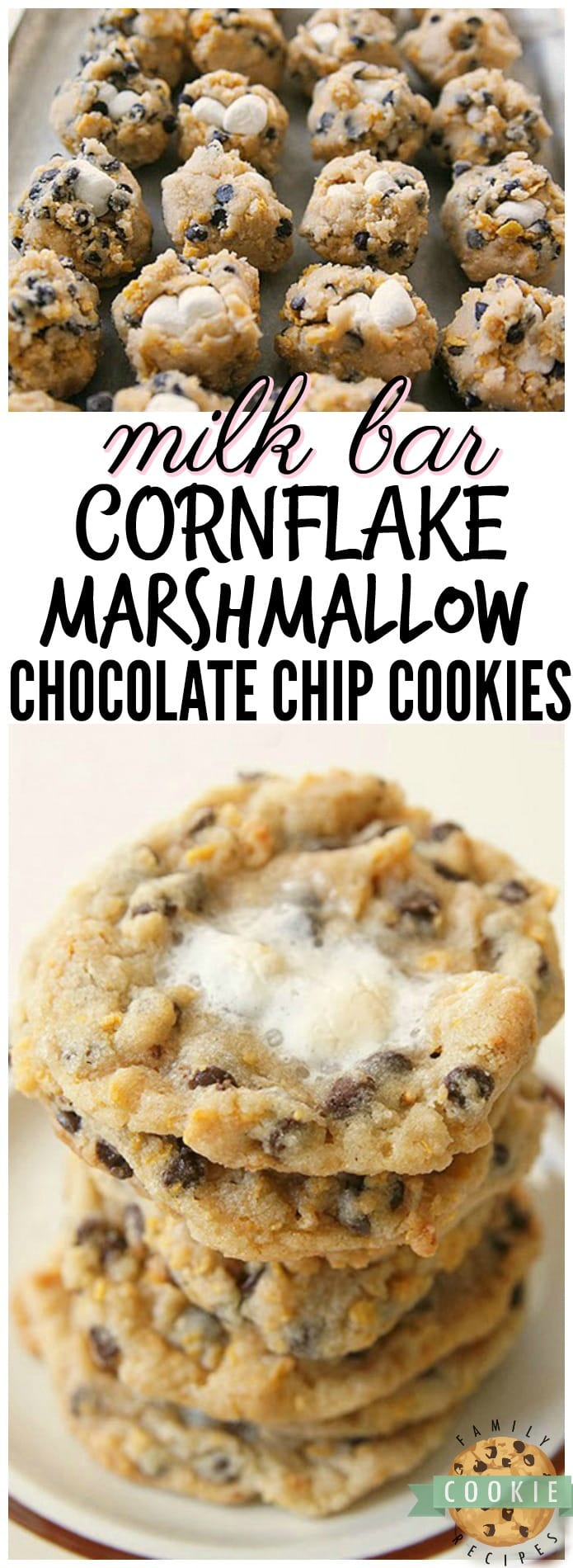 Milk Bar Cornflake Marshmallow Cookies just like the ones served in Momofuku Milk Bar in NYC! I think my version is even BETTER...and they're easier to make! See my tips and tricks on making these incredible cornflake chocolate chip cookies in your own kitchen. via @familycookierecipes