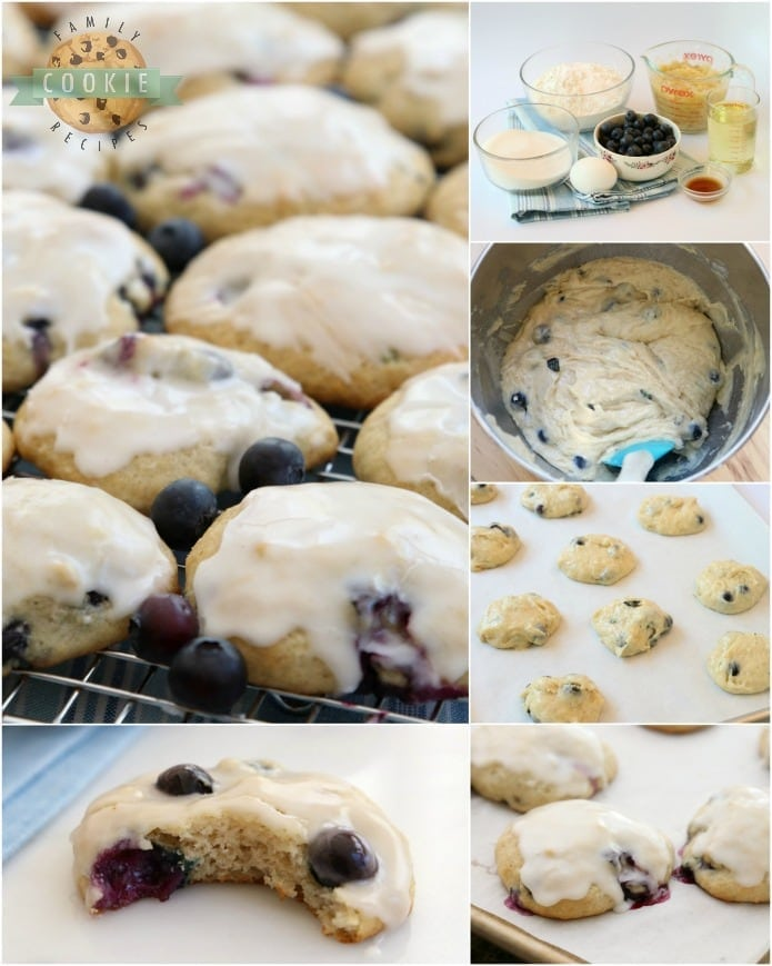 Blueberry Banana Cookies are like blueberry muffin tops in cookie form! Great flavor from the blueberries & bananas with a wonderful melt-in-your-mouth texture. Everyone goes crazy over these iced banana cookies!