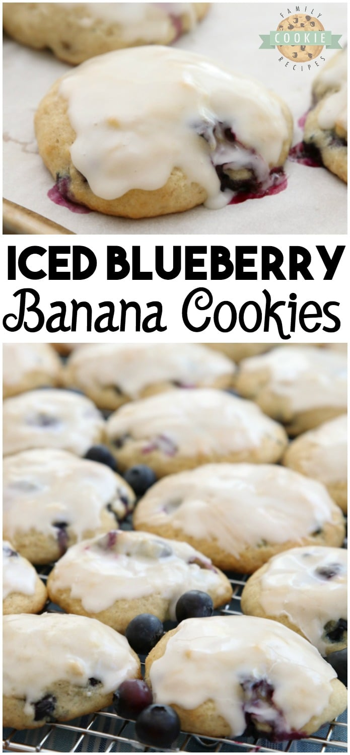 Blueberry Banana Cookies are like blueberry muffin tops in cookie form! Great flavor from the blueberries & bananas with a wonderful melt-in-your-mouth texture. Everyone goes crazy over these iced banana cookies! #blueberry #banana #cookies #baking #dessert #cookie #recipe from FAMILY COOKIE RECIPES