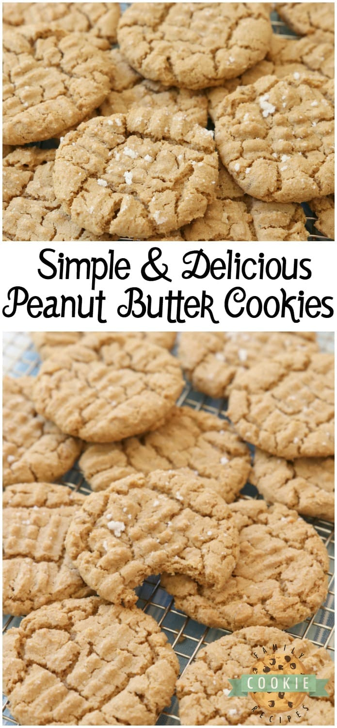 Easy Peanut Butter Cookies made with just a handful of ingredients and no flour! Easy peanut butter cookie recipe made with peanut butter, brown sugar, an egg and baking soda. via @familycookierecipes