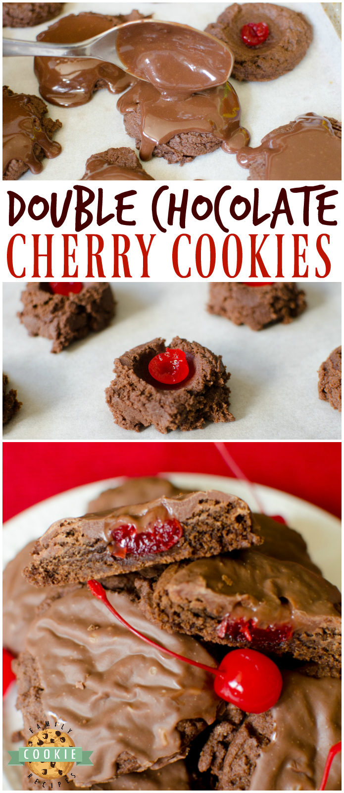 Double Chocolate Cherry Cookies are thick and chewy, complete with a cherry in middle and a delicious fudge topping on top! via @familycookierecipes