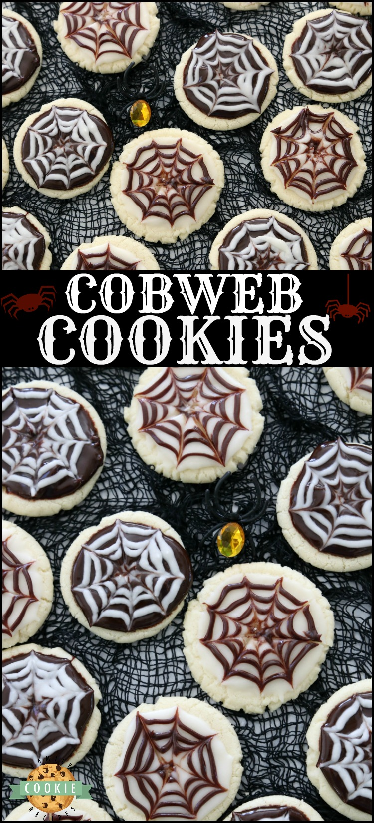 Halloween Cobweb Cookies are spectacularly spooky and completely delicious! Sugar cookies topped with chocolate & vanilla icing- no coloring! Quick & easy spider web design made in seconds. Perfect Halloween treats! via @familycookierecipes