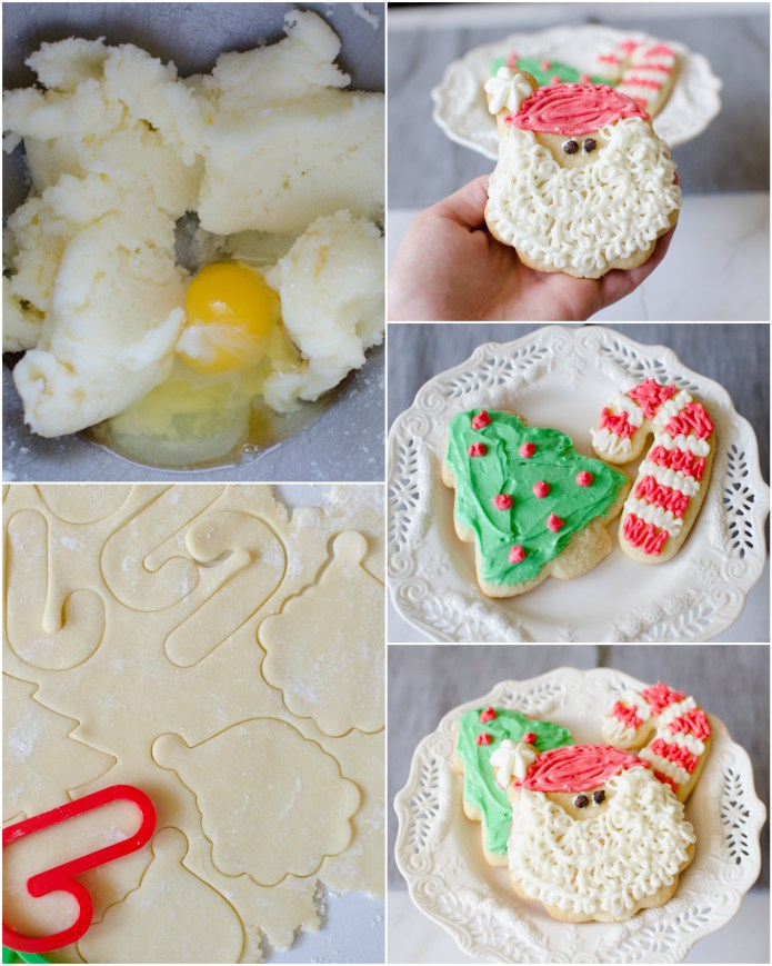 Christmas Sugar Cookies are a necessary holiday tradition at our house! This simple sugar cookie recipe produces soft, chewy and delicious cut-out cookies that can be decorated with a simple 4-ingredient buttercream frosting.