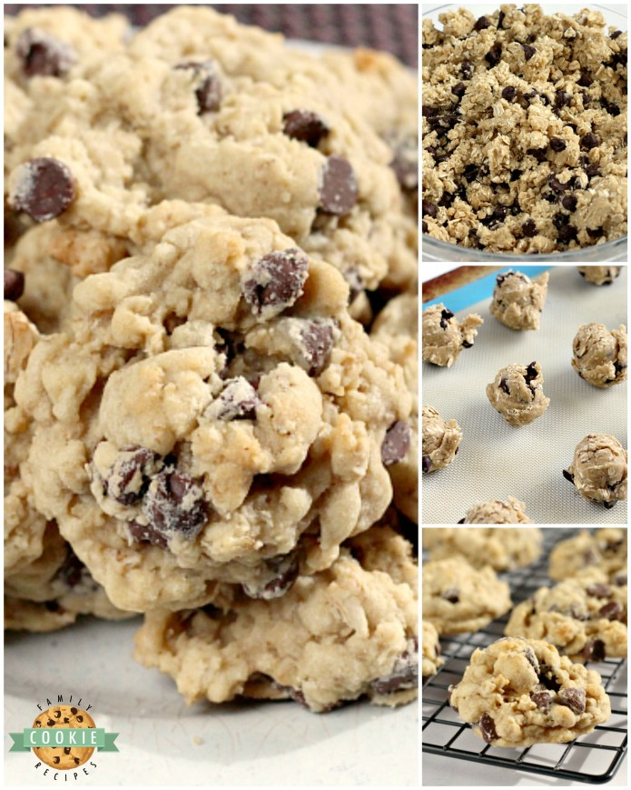 Oatmeal Chocolate Chip Cookies are chewy, delicious and loaded with oats and chocolate chips. This classic cookie recipe has been a family favorite for many years - it's the best Oatmeal Chocolate Chip Cookie recipe ever!