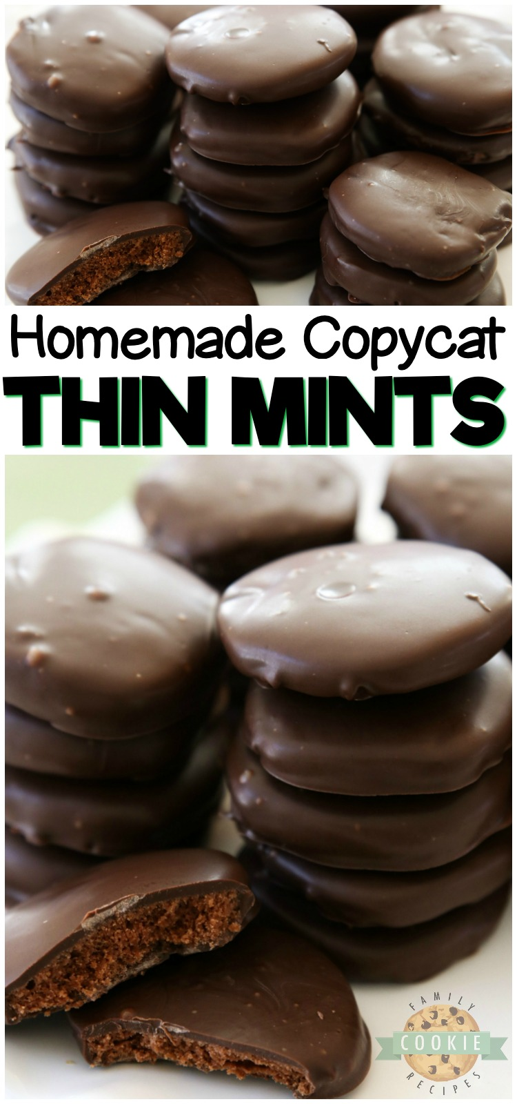 Thin Mints Cookies made with homemade buttery chocolate cookies dipped in mint fudge glaze. This simple recipe for copycat Thin Mints tastes even better than the original! #thinmints #thinmint #cookies #girlscout #baking #copycat #dessert #recipe from FAMILY COOKIE RECIPES
