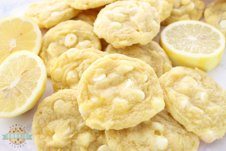 White Chocolate Chip Lemon Cookies are soft, chewy and perfectly sweet lemon cookies! White chocolate chips & lemon pudding mix add great flavor and texture to these delicious spring cookies.