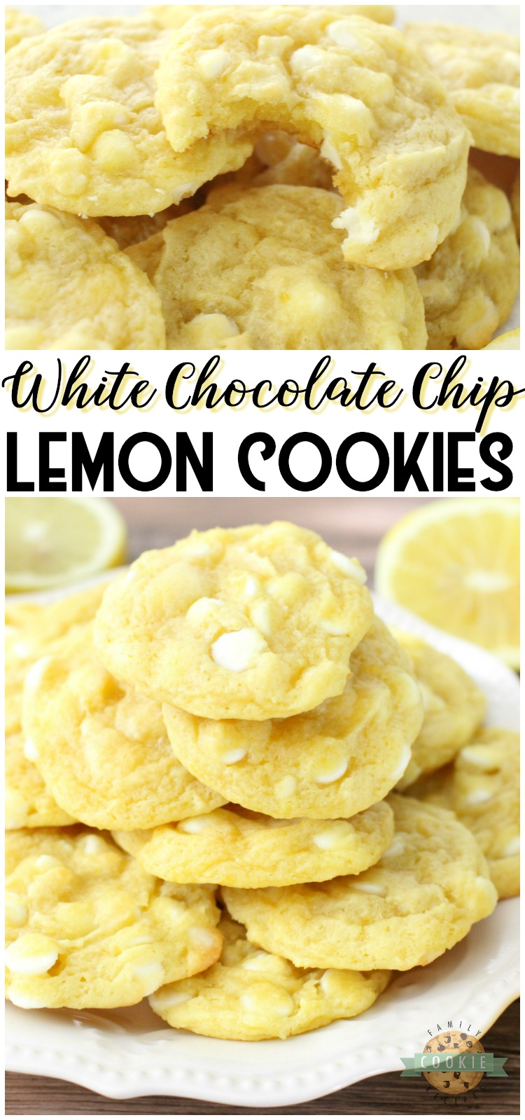 White Chocolate Chip Lemon Cookies are soft, chewy and perfectly sweet lemon cookies! White chocolate chips & lemon pudding mix add great flavor and texture to these delicious spring cookies.  #lemon #cookies #pudding #baking #dessert #recipe from FAMILY COOKIE RECIPES