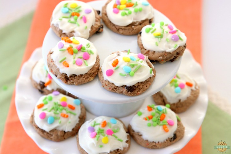 Carrot Cake Cookies are soft and chewy, flavorful carrot cake cookies made with a cake mix! Topped with a creamy cheesecake frosting, these carrot cake cookies are perfect for Easter!