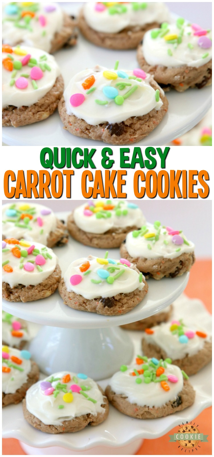 Carrot Cake Cookies are soft and chewy, flavorful carrot cake cookies made with a cake mix! Topped with a creamy cheesecake frosting, these carrot cake cookies are perfect for Easter!  #carrotcake #cookies #cakemix #cookie #Spring #Easter #recipe #dessert from FAMILY COOKIE RECIPES via @familycookierecipes