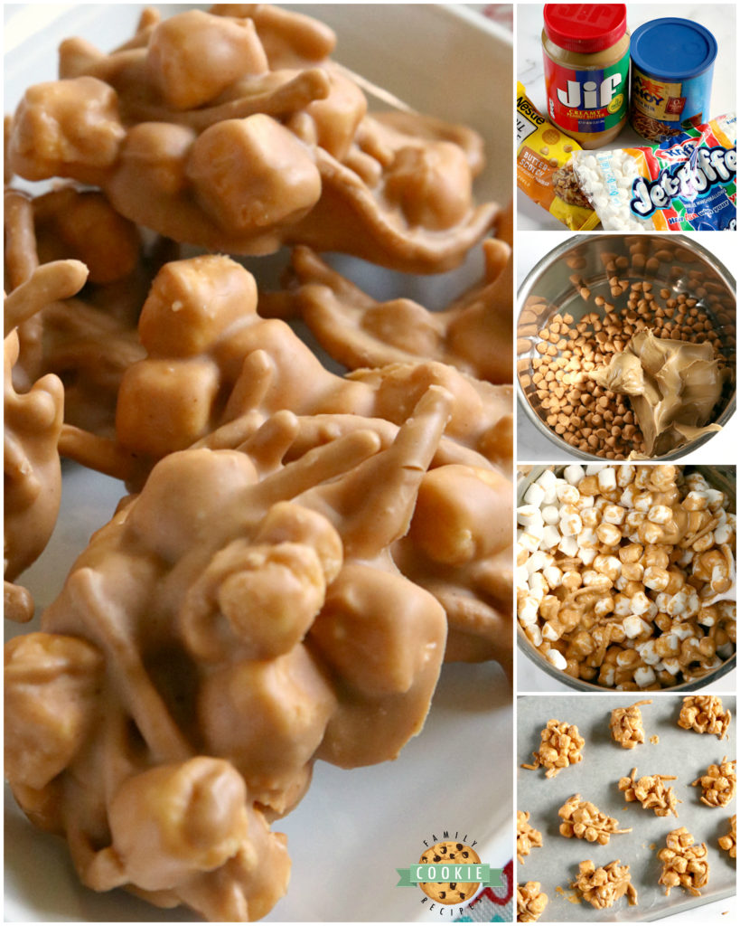 Marshmallow Peanut Butter No Bake Cookies are made with only 4 ingredients - marshmallows, peanut butter, butterscotch chips and chow mein noodles!