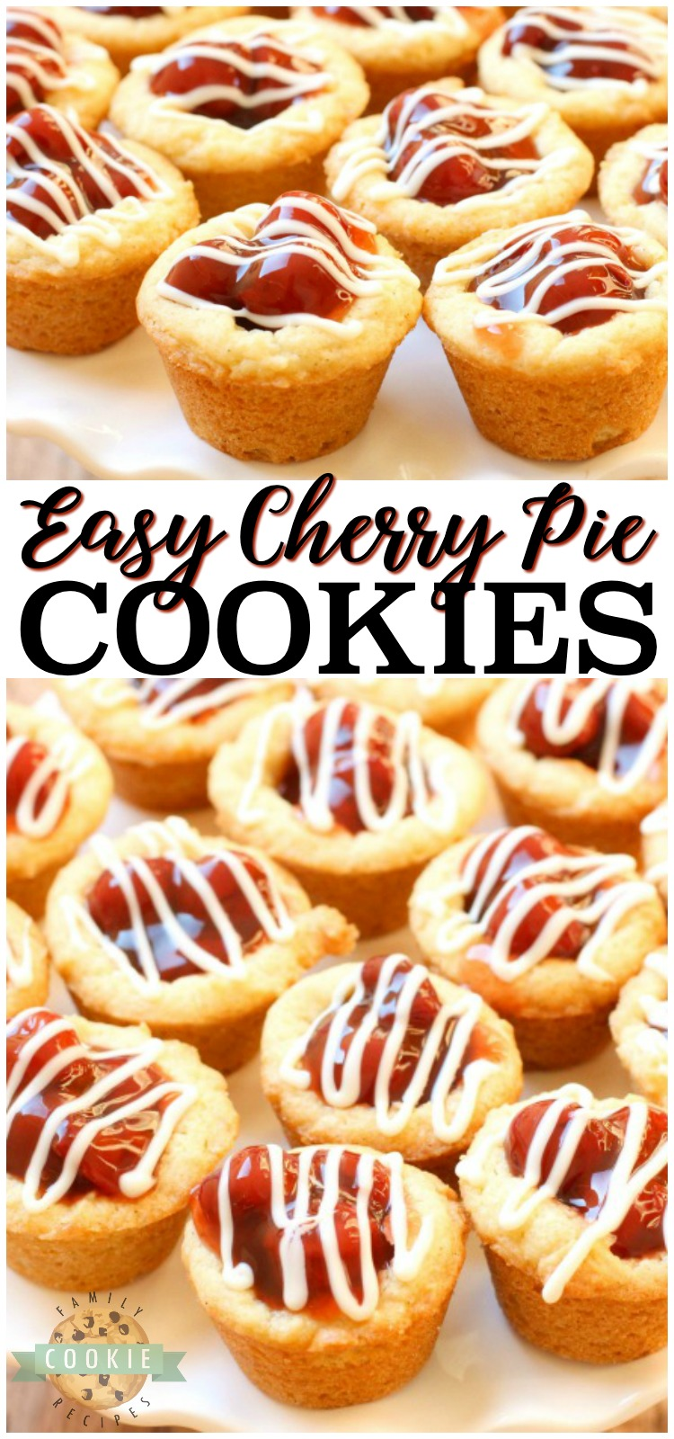 Cherry Pie Cookies are cherry pie in cookie form! Easy to make sugar cookies filled with sweet cherries and drizzled with white chocolate. via @familycookierecipes