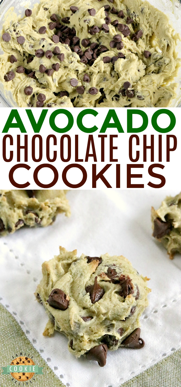 Avocado Chocolate Chip Cookies are soft, chewy and delicious! These chocolate chip cookies are made with avocado instead of butter - you've got to try it sometime! via @familycookierecipes