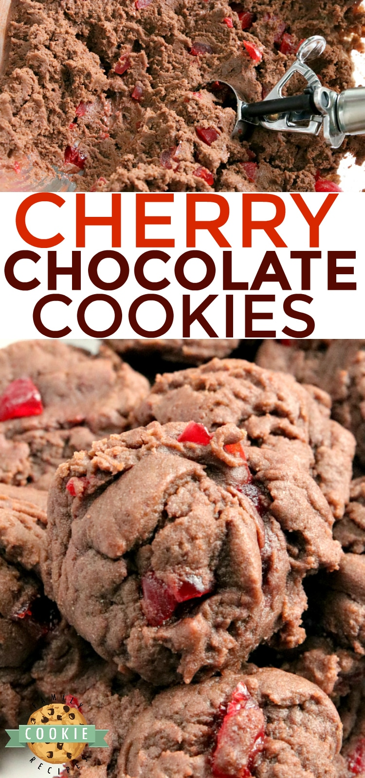 Cherry Chocolate Cookies are soft, chewy and full of cherries! There is chocolate pudding mix in these cookies which gives them the perfect flavor and consistency every time. via @familycookierecipes