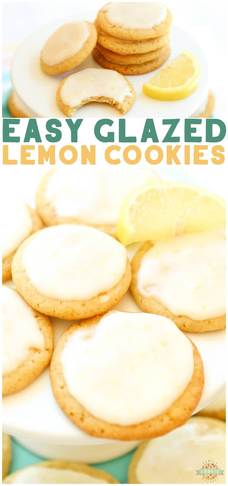 GLAZED LEMON COOKIES are sweet frosted lemon butter cookies made with fresh lemons. This delicious lemon cookie recipe is the perfect amount of sweet and tart.#cookies #lemon #dessert #baking #recipe from Family Cookie Recipes