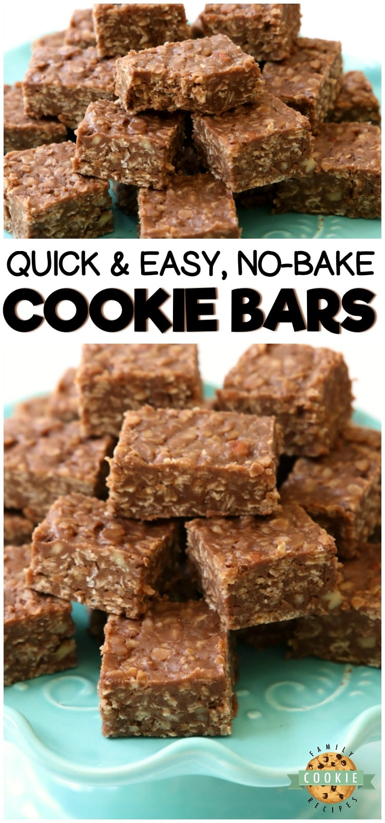 No Bake Cookie Barsrecipe is a quick variation on THE BEST no bake cookies recipe. Made with quick oats & chocolate chips, these no bake oatmeal cookiescouldn't be tastier! #nobake #cookies #chocolate #dessert #oats #recipe from FAMILY COOKIE RECIPES