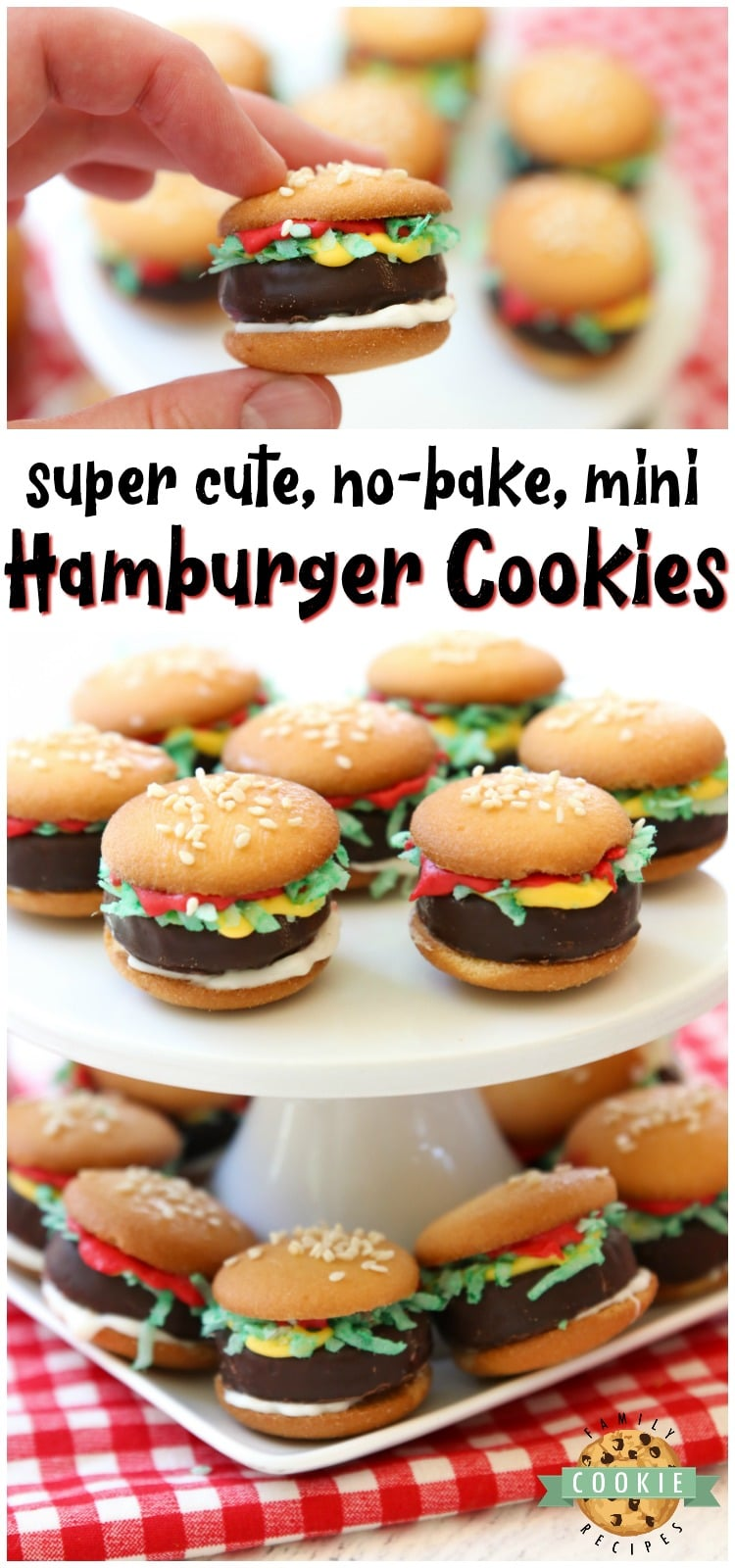 Mini Hamburger Cookies made from Nilla Wafers, York Peppermint Patties and melted candy! Super cute no-bake hamburger cookies that kids go crazy over! #cookies #nobake #hamburgers #burgers #miniburgers #candy #dessert #kidfood from FAMILY COOKIE RECIPES