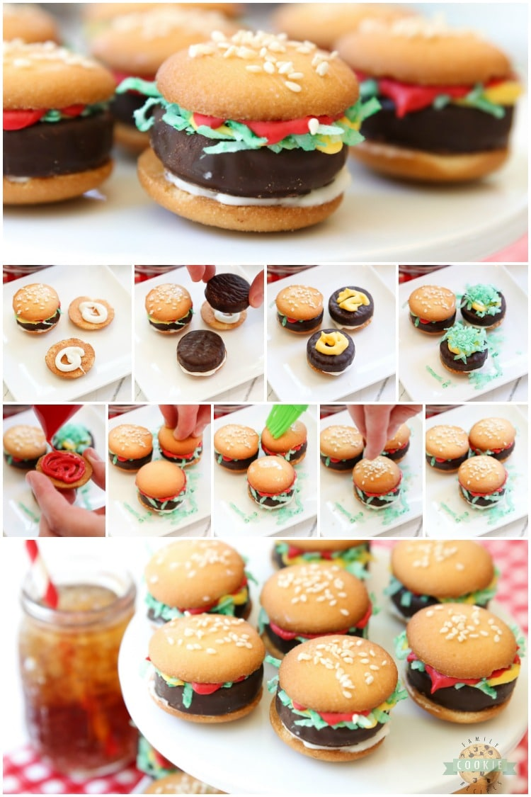 Mini Hamburger Cookies made from Nilla Wafers, York Peppermint Patties and melted candy! Super cute no-bake hamburger cookies that kids go crazy over!