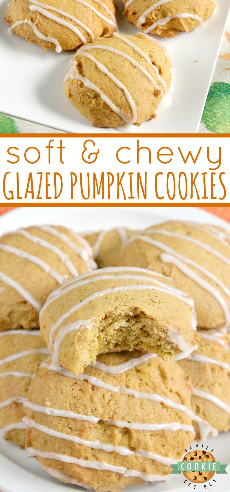 Glazed Pumpkin Cookies are soft and chewy and packed with pumpkin, nutmeg and cinnamon. This delicious pumpkin cookie recipe is easy to make and is even more delicious with the simple vanilla glaze drizzled on top. via @familycookierecipes