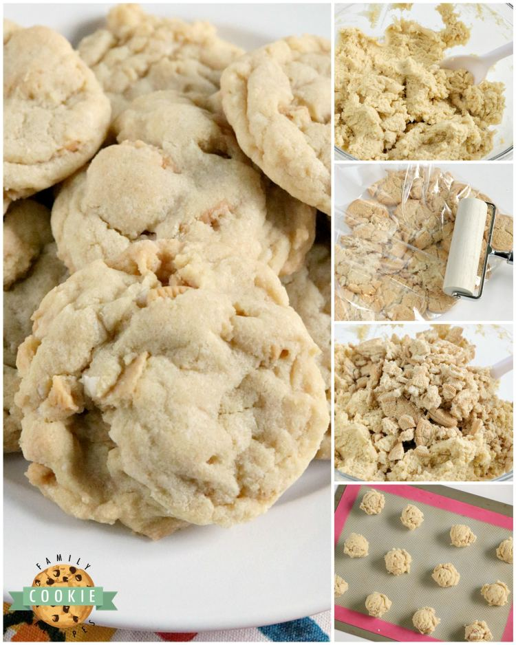 Vanilla Cream Cookies are soft, chewy and full of vanilla flavor. This simple cookie recipe is made with vanilla pudding mix and lots of crushed Golden Oreos - they are amazing!