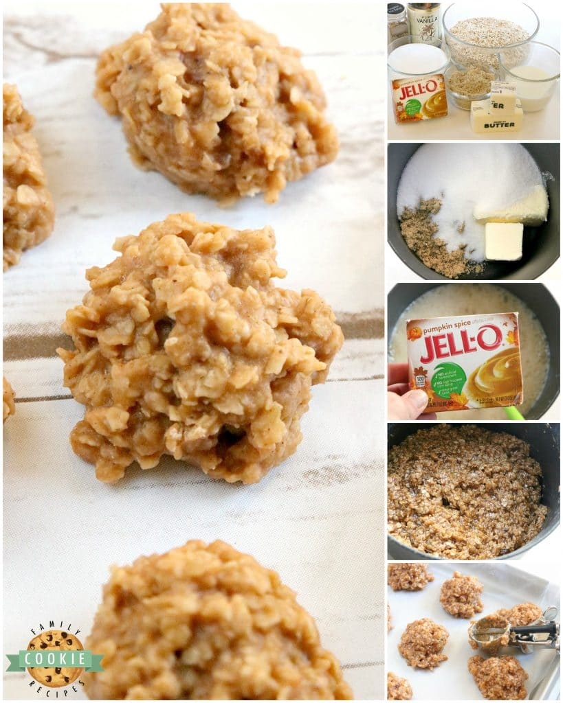 Step by step instructions on how to make no bake cookies