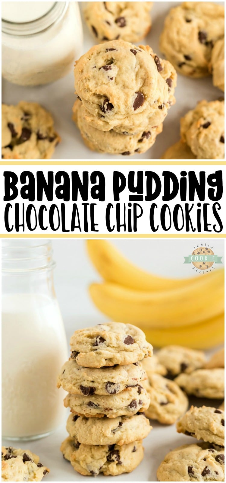 Banana Chocolate Chip Cookies are made with fresh bananas and chocolate chips folded into a lovely vanilla pudding cookie dough. A soft chocolate chip cookie recipe with lovely bright, fresh flavor from fresh bananas and chocolate.
