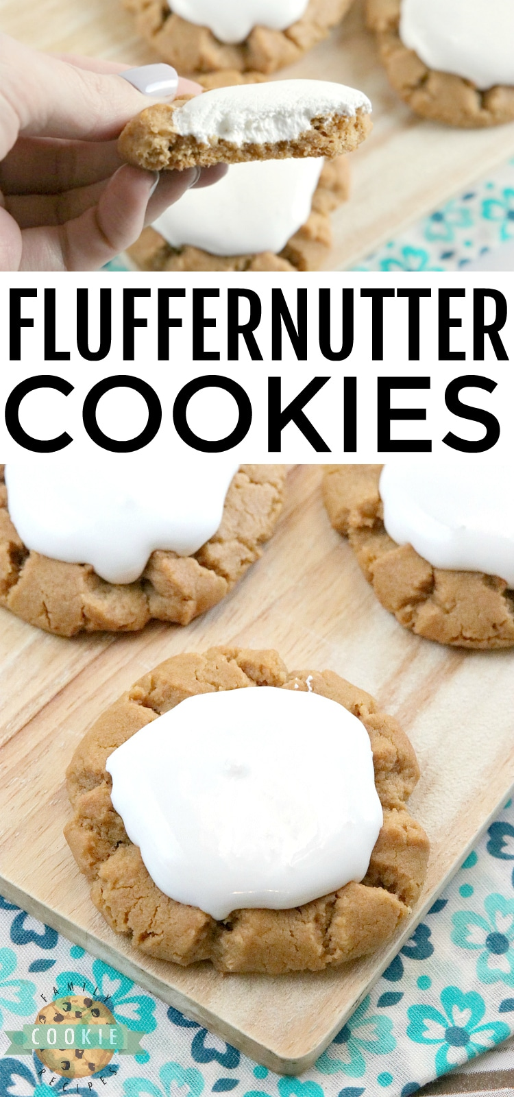 Fluffernutter Cookies take a traditional peanut butter cookie recipe to the next level by adding marshmallow fluff to the top! The peanut butter and marshmallow combination is absolutely amazing in this cookie recipe! via @familycookierecipes