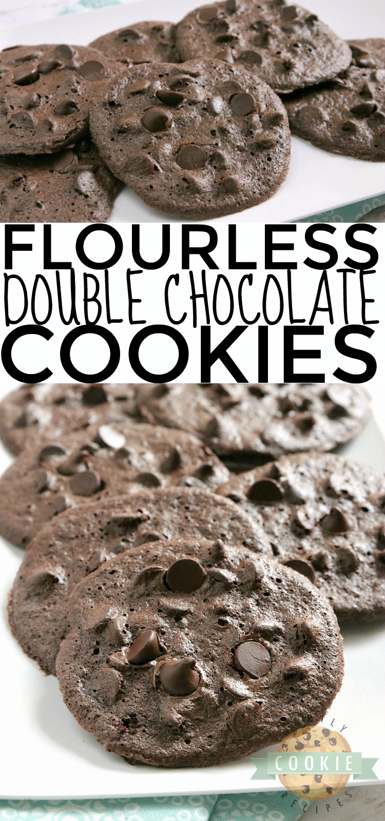Flourless Double Chocolate Cookies are soft, fudgy and have absolutely no flour in them! The perfect flourless cookie recipe, whether you need a gluten-free cookie or even if you just don't have any flour on hand! via @familycookierecipes