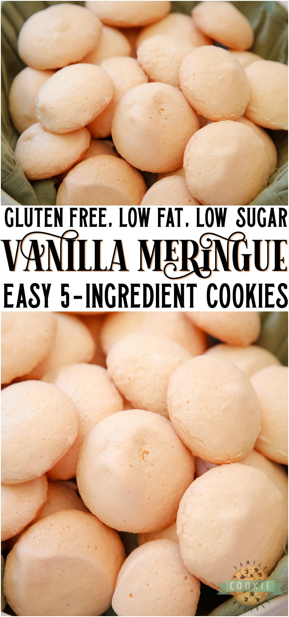 Easy Vanilla Meringue Cookies made with just 5 ingredients that you probably already have in your pantry! Simple gluten free, low fat, low sugar meringue cookie recipe flavored with vanilla extract for a sweet, crisp and chewy treat. #meringue #vanilla #cookies #lowfat #lowsugar #glutenfree #baking #dessert recipe from FAMILY COOKIE RECIPES via @familycookierecipes