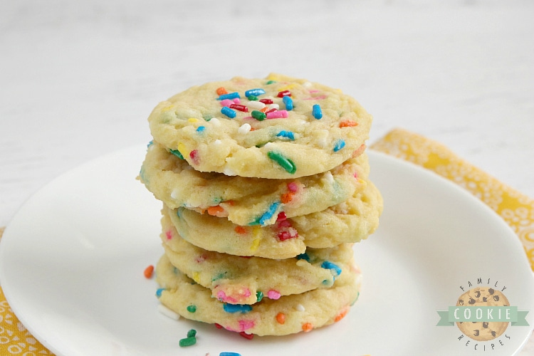 Birthday Cake Cookies are soft vanilla cookies with lots of sprinkles! This simple cookie recipe tastes like your favorite birthday cake in cookie form.