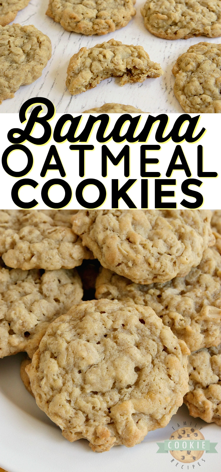 Banana Oatmeal Cookies are soft, chewy and made with banana pudding mix and fresh bananas! Easy oatmeal cookie recipe with a ton of banana flavor! via @familycookierecipes